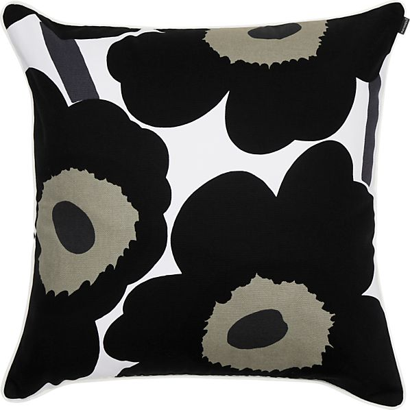 "Marimekko Unikko Black and White 24"" Pillow"