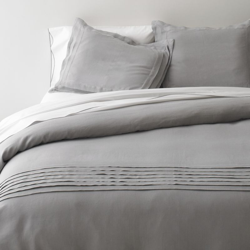 Cool in summer, warm in winter and extremely comfortable next to the skin, 100% linen bedding is perfect in any season. Our reversible Pietra duvet gives this super comfortable fiber a cool stone wash, elegantly detailed with soft pleated accents along the bottom and a mother of pearl closure. Interior ties to stabilize duvet insert. With each wash, linen will become softer and acquire a subtle sheen. Some color variations may occur. Duvet inserts also available.<br /><br /><NEWTAG/><ul><li>100% linen</li><li>Mother of pearl button closure</li><li>Machine wash, tumble dry</li><li>Made in India</li></ul>