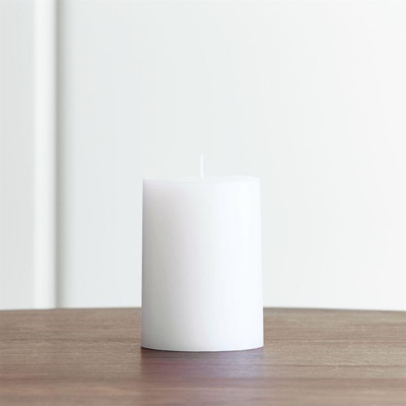 Stock up on the classic white pillar candle, in a variety of sizes.<br /><br /><NEWTAG/><ul><li>Paraffin wax</li><li>Cotton wick</li><li>Unscented</li><li>Burn time: 46 hours</li><li>Made in India</li></ul>
