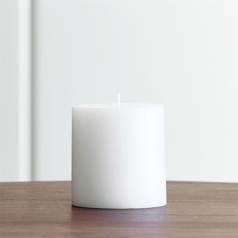 Stock up on the classic white pillar candle, in a variety of sizes.<br /><br /><NEWTAG/><ul><li>Paraffin wax</li><li>Cotton wick</li><li>Unscented</li><li>Burn time: 75 hours</li><li>Made in India</li></ul>