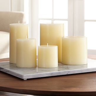 "Stock up on the classic ivory pillar candle, in a variety of sizes.Paraffin waxCotton wickUnscentedBurn time: 3""x3"" (32 hours), 3""x4"" (46 hours), 3""x6"" (85 hours), 4""x4"" (75 hours), 4""x6"" (130 hours)Made in India"