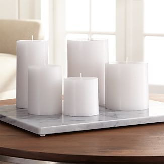 "Stock up on the classic white pillar candle, in a variety of sizes.Paraffin waxCotton wickUnscentedBurn time: 3""x3"" (32 hours), 3""x4"" (46 hours), 3""x6"" (85 hours), 4""x4"" (75 hours), 4""x6"" (130 hours)Made in India"