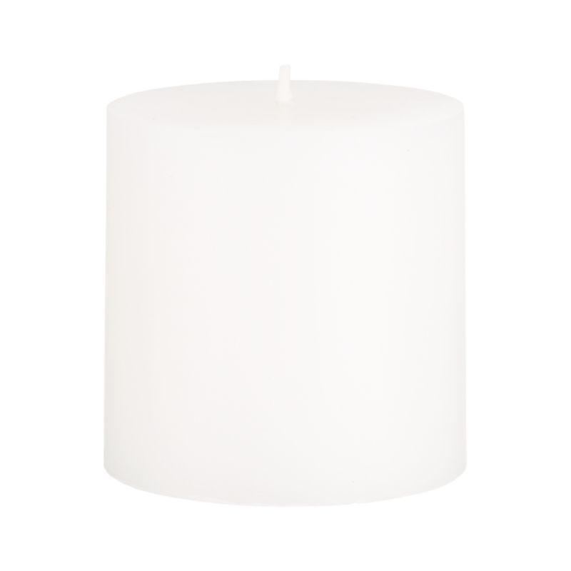 Stock up on the classic white pillar candle, in a variety of sizes.<br /><ul><li>Paraffin wax</li><li>Cotton wick</li><li>Unscented</li><li>Burn time: 32 hours</li><li>Made in India</li></ul><NEWTAG/>