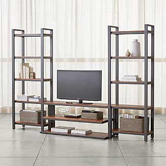 "Pilsen 52"" Graphite Media Console with 2 Walnut Bookcases"
