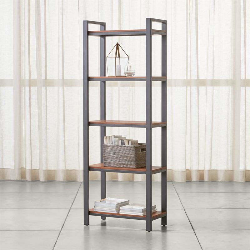 Pilsen Graphite Bookcase With Walnut Shelves Crate And