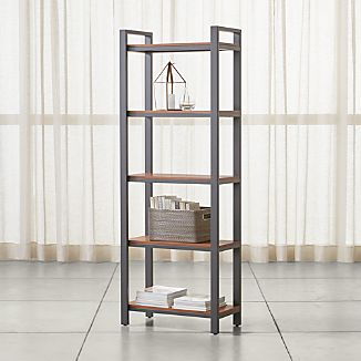 Pilsen Graphite Bookcase with Walnut Shelves