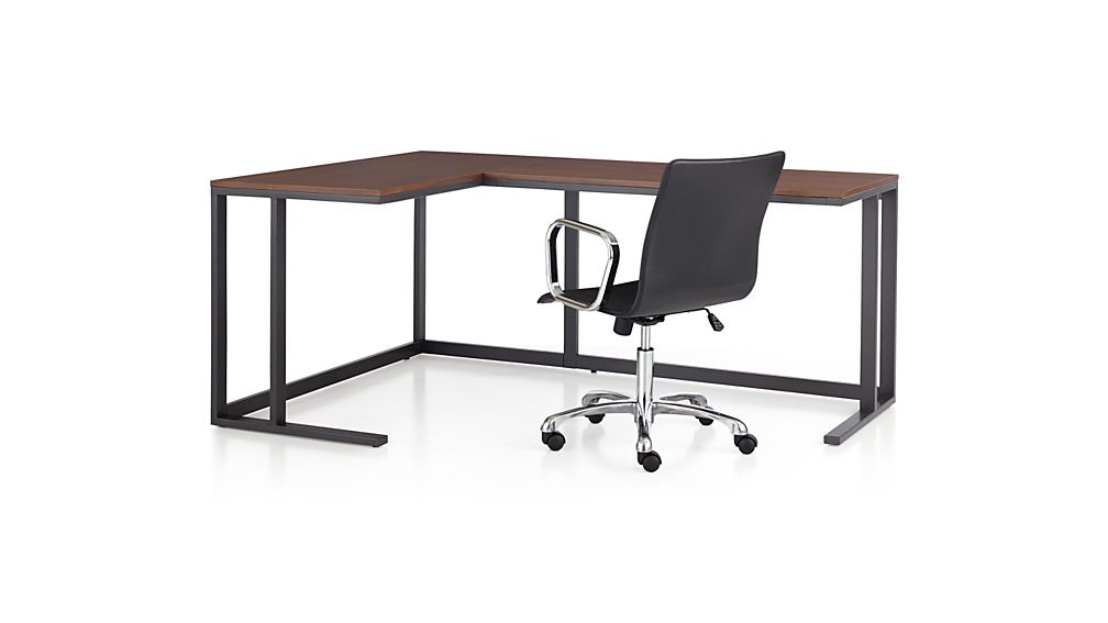 Pilsen Graphite Corner Desk With Walnut Top Crate And Barrel