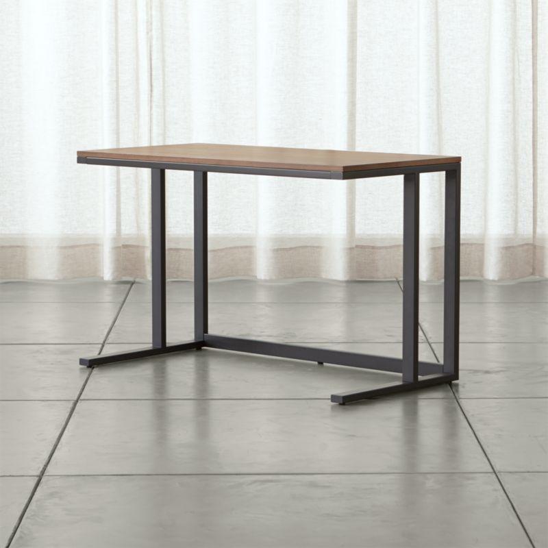Pilsen Graphite Desk With Walnut Top Crate And Barrel