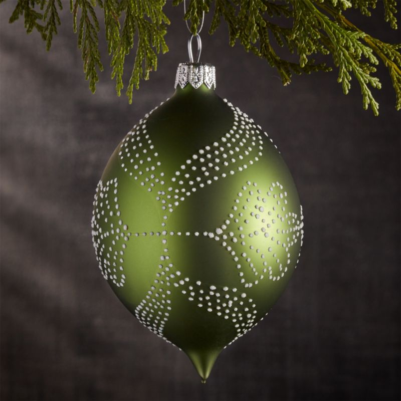 Pindot Green Drop Ornament