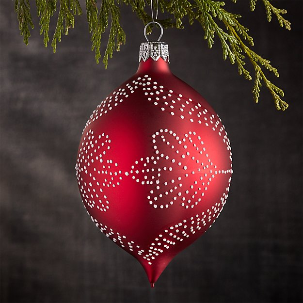 Pindot Red Drop Ornament