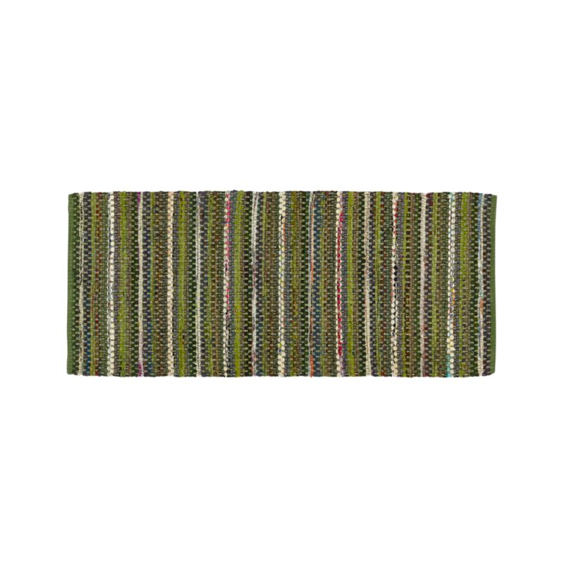 Pinstripe Evergreen 2.5'x6' Rug Runner.