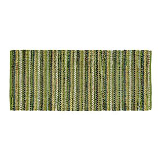 Pinstripe Green Cotton 2.5'x6' Rag Rug