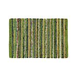Pinstripe Green Cotton 2'x3' Rag Rug