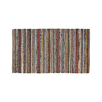 "Pinstripe Grey Cotton 30""x50"" Rag Rug"