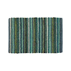 Pinstripe Jade Green Cotton 2'x3' Rag Rug