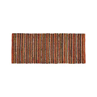 Pinstripe Orange Cotton 2.5'x6' Rag Rug