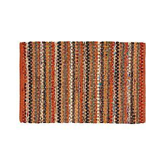 Pinstripe Orange Cotton 2'x3' Rag Rug