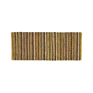 Pinstripe Yellow Cotton 2.5'x6' Rug Rug Runner