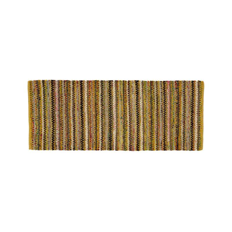 Pinstripe Yellow Cotton 2.5'x6' Rug Rug Runner