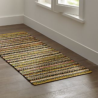 Pinstripe Yellow Cotton 2.5'x6' Rug Rug
