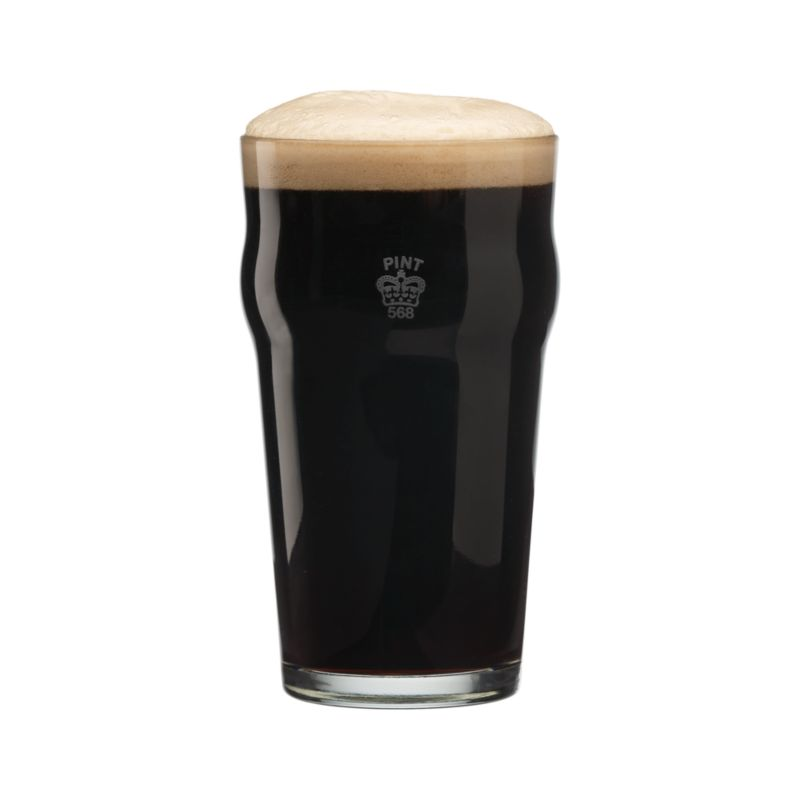 """A traditional crown mark these English-style pint glasses as an official imperial pint. Ideally sized for generous pours of pale ales and lagers with a curved lip to cultivate foamy heads of beer.<br /><br /><a href=""""/ideas-and-advice//types-of-beer-glasses"""">What you need to know when selecting a beer glass</a>.<br /><br /><NEWTAG/><ul><li>Glass with screen print</li><li>Dishwasher safe</li><li>Made in USA</li></ul>"""