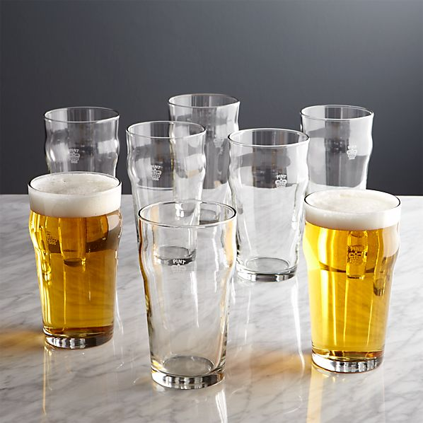 Pint Glass Tumblers with Crown Set of Eight
