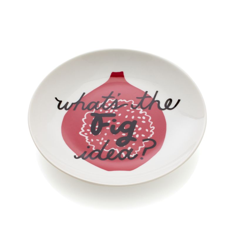 "Conversation-starting white porcelain plates showcase whimsical wordplay inscribed across fresh produce silhouettes in a range of tasty hues. Fig plate wonders ""what's the fig idea?""<br /><br /><NEWTAG/><ul><li>Porcelain</li><li>Dishwasher-, microwave- and oven-safe to 350 degrees</li><li>Made in China</li></ul>"