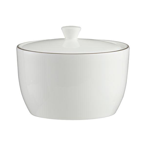 Platinum Rim Sugar Bowl with Lid