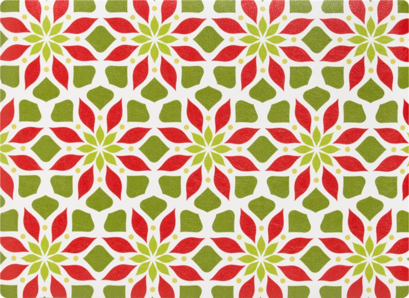 Seasonal blooms give geometry a go in lively pattern of abstract leaves and petals in bright red and green. No-fuss vinyl is a holiday bonus.<br /><br /><NEWTAG/><ul><li>100% vinyl</li><li>Wipe clean with damp cloth</li><li>Made in USA</li></ul>