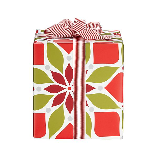 Red and White Poinsettia Gift Wrap