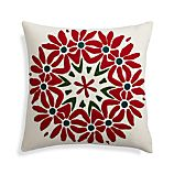 "Poinsettia 18"" Holiday Pillow with Feather-Down Insert"