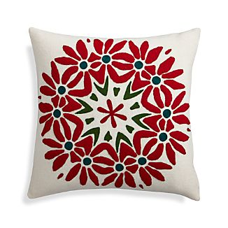 "Poinsettia 18"" Holiday Pillow"