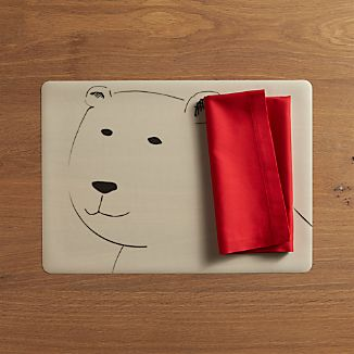 Polar Bear Easy-Care Placemat and Fete Cherry Napkin