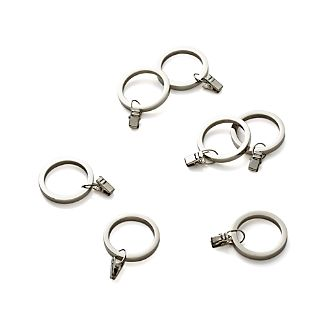 Set of 7 Polished Nickel Curtain Rings