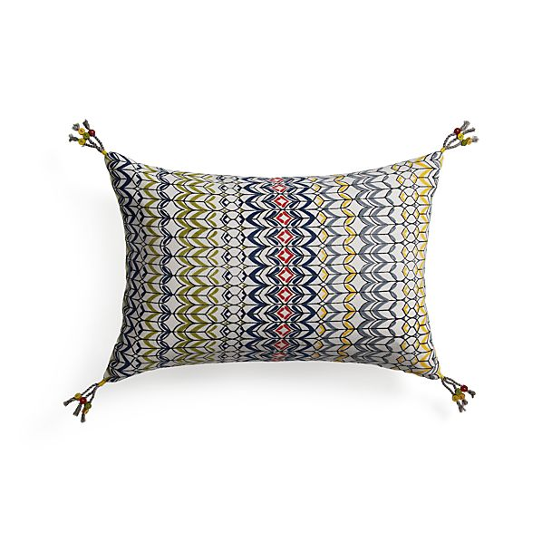 "Pondicherry 18""x12"" Pillow with Feather-Down Insert"