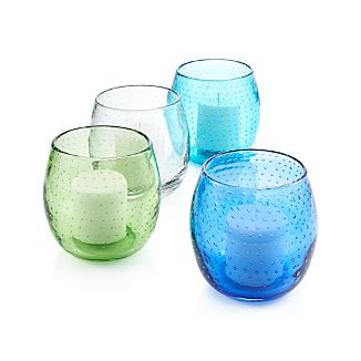 Tiny bubbles add pop to pert, glass hurricanes, simply shaped in four fabulous colors.GlassAccommodates a standard tealight, votive or small pillar candle (sold separately)Wipe with soft, dry cloth - the use of water or other liquids for cleaning may result in a loss of colorMade in China