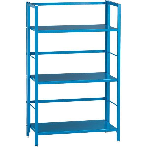 Pop Up Aqua Folding Three-Shelf Bookcase