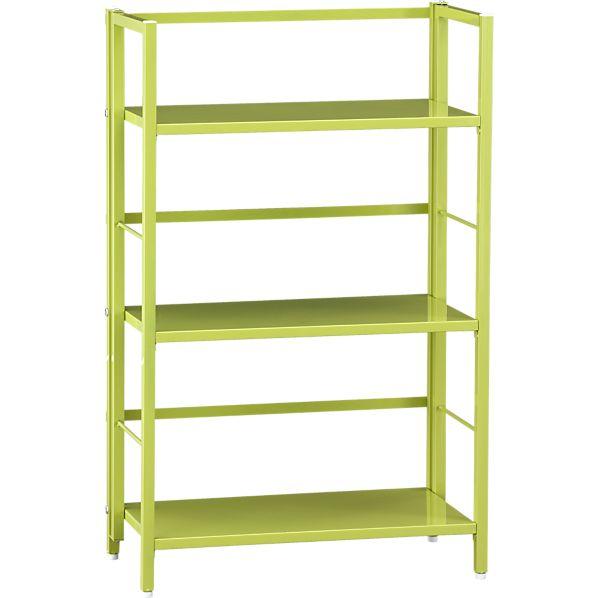 Pop Up Green Folding Three-Shelf Bookcase