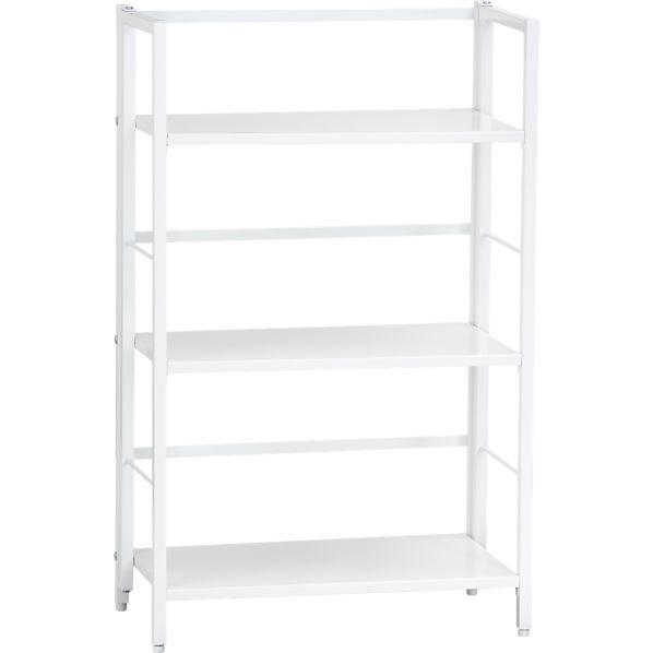 Pop Up White Folding Three-Shelf Bookcase