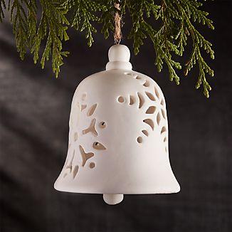 Porcelain Snowflake Bell Ornament