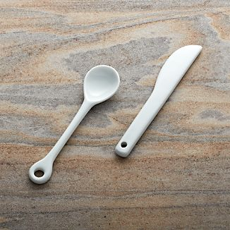 Porcelain Condiment Spoon and Spreader