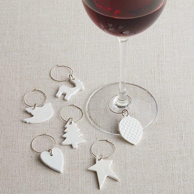 White Porcelain Wine Charms Set of Six