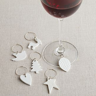 White Porcelain Wine Charms Set of Six