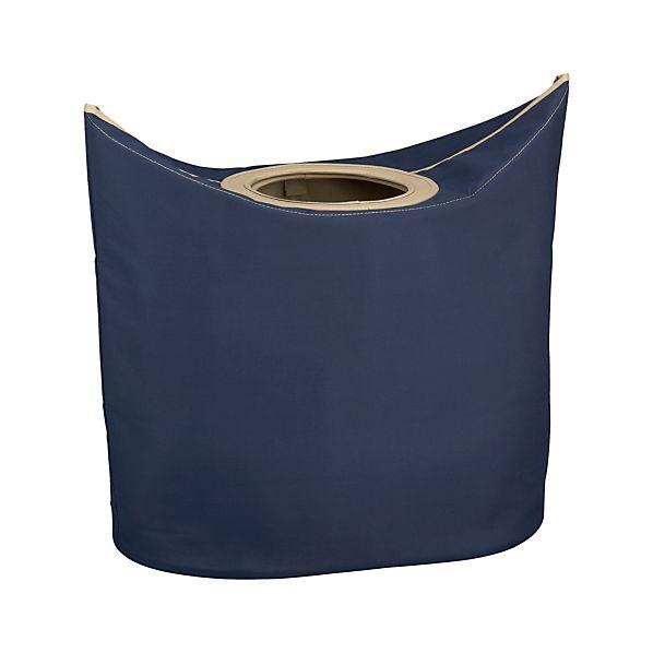 Portable Indigo Laundry Hamper