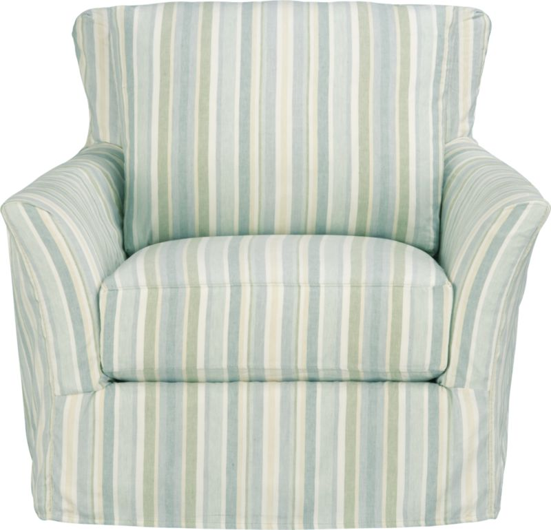 "Relaxed easy chair swivels 360 degrees in all directions to meet conversation. Clean, slim arms outwardly gesture, curve and continuously wrap back to create a soft, relaxed silhouette from all angles. The fabric is tumble-washed repeatedly to achieve the soft, lived-in feel of a favorite weekend shirt.<br /><br />Additional <a href=""http://crateandbarrel.custhelp.com/cgi-bin/crateandbarrel.cfg/php/enduser/crate_answer.php?popup=-1&p_faqid=125&p_sid=DMUxFvPi"">slipcovers</a> available below and through stores featuring our Furniture Collection.<br /><br />After you place your order, we will send a fabric swatch via next day air for your final approval. We will contact you to verify both your receipt and approval of the fabric swatch before finalizing your order.<br /><br /><NEWTAG/><ul><li>Eco-friendly construction</li><li>Certified sustainable, kiln-dried hardwood frame</li><li>Seat cushion with inner spring coil system surrounded by polyfoam with feather-down blend encased in downproof ticking</li><li>Flexolator spring suspension</li><li>Swivel mechanism</li><li>Back cushion is 100% down mix wrapped in downproof ticking</li><li>Linen-cotton blend slipcover with topstitching</li><li>Benchmade</li><li>See additional frame options below</li></ul>"