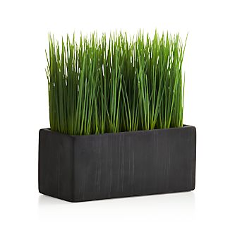 Row up these pots of faux grass for a modern twist on Easter décor or as an all-year interior accent. Cement adds a rustic touch to sleek rectangular shape.