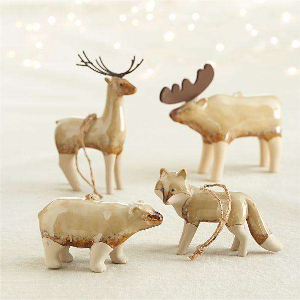 Pottery Woodland Animal Ornaments