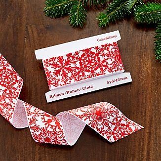 Printed Snowflake Grosgrain Ribbon