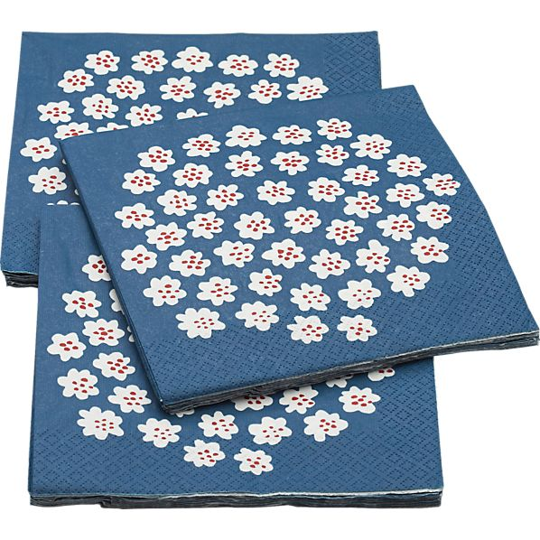 "Set of 20 Marimekko Puketti Blue and White 6.5"" Paper Napkins"