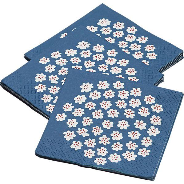 "Set of 20 Marimekko Puketti Blue and White 4.75"" Paper Napkins"